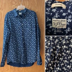 J. Crew Secret Wash Shirting floral shirt, XLT